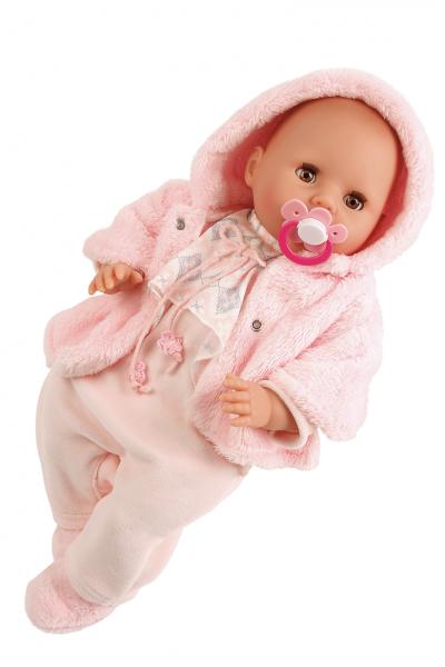 Baby Amy 45 cm mit Schnuller, Malhaar, braune Schlafaugen, Winterkleidung rose