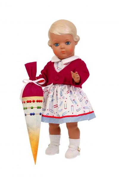 Puppe Inge 34 cm blonde Malhaare, Schulkleidung