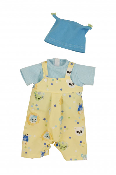 Kleidung zu Puppe 37 cm Schlenkerle/Schlummerle/Strampelchen Gr. 37 blau/gelb