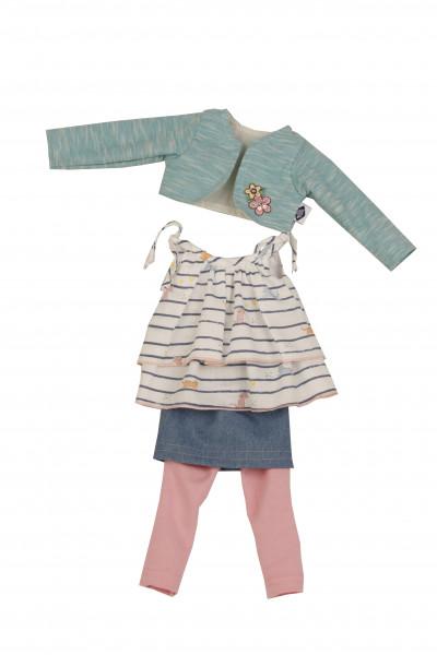 Kleidung zu Puppe Yella 46 cm rose/weiss/türkiswinterlich
