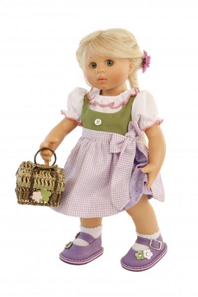 Puppe Müller-Wichtel Lotta 30 cm blonde Haare, Dirndl lila/weiss/grün