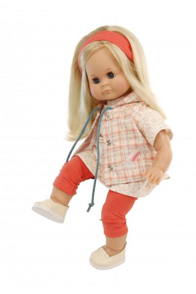 Puppe Schlummerle 37 cm blonde Haare, blaue Schlafaugen, Kleidung weiss/rot/rose
