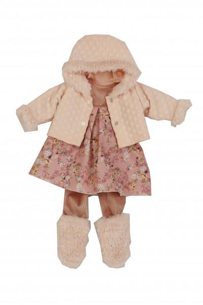 Kleidung zu Puppe 52 cm Elli/ Klara/ Julchen winterlich rose/weiss