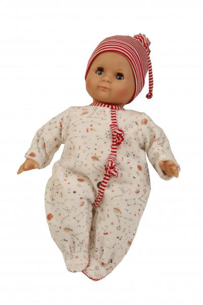 Puppe Schlummerle 32 cm mit Malhaar und blauen Schlafaugen, Nickyoverall weiß/rot