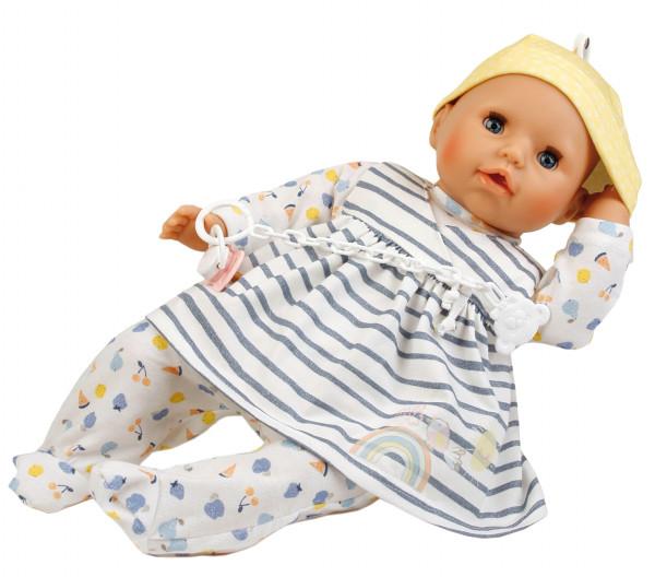 Baby Amy 45 cm mit Schnuller, Malhaar, blaue Schlafaugen, Kleid weiß/blau/gelb