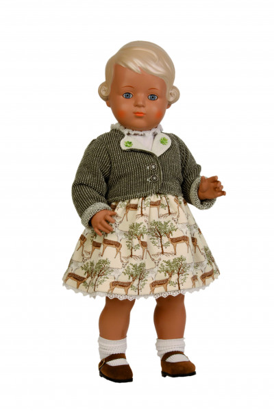 Puppe Inge 49 cm blonde Malhaare, Trachtenkleidung