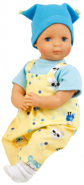 """Puppe Schlenkerle 37 cm mit Malhaar und blauen Malaugen, Kleidung gelb/bleu """"Made in Germany"""
