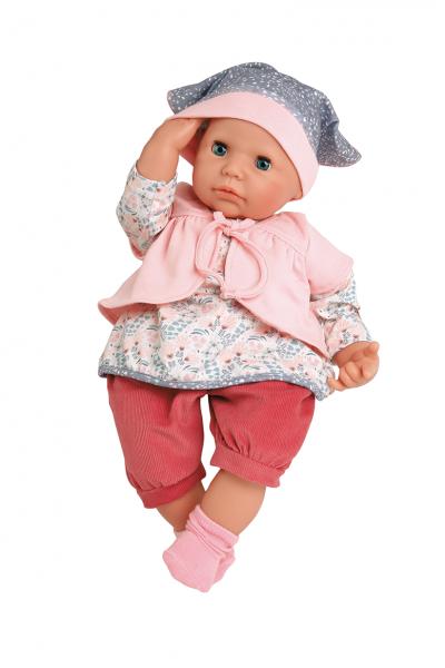 Baby Julchen 52 cm Malhaar, blaue Schlafaugen, Kleidung rot/rose/blau