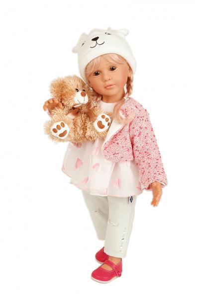 Puppe Isi 50 cm von Gudrun Legler blonde Haare, Kleidung rose/weiss/Jeans