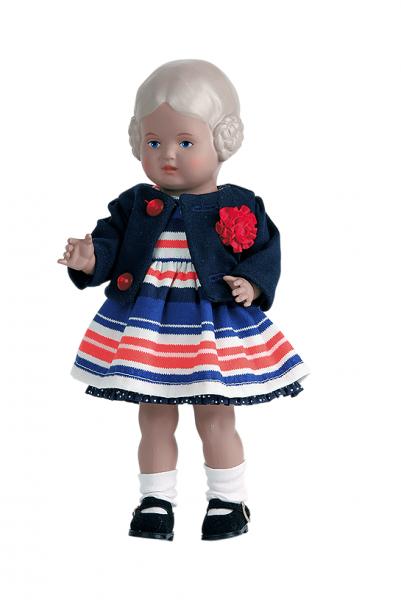 Puppe Bärbel 25 cm blonde Malhaare, Kleidung blau/weiss/rot