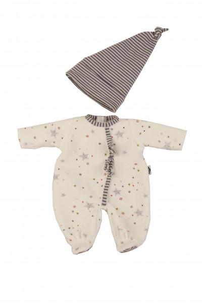 Kleidung zu Puppe Schlummerle 32 cm, Nickyoverall weiss/blau