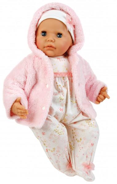 Baby Julchen 52 cm Malhaar, blaue Schlafaugen, Winterkleidung rose/weiss