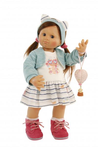 Puppe Müller-Wichtel Pia 30 cm braune Haare, Kleidung weiss/türkis mit Ballon