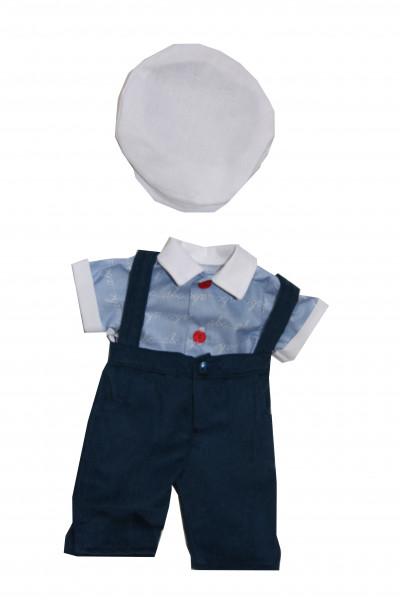 Anzug zu Stehpuppe 41 cm Schulkleidung blau/weiss