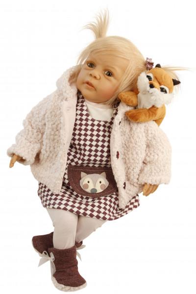 Puppe Leni 50 cm von Gudrun Legler blonde Haare, Kleidung rose/weiss/bran