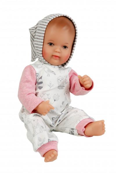 Puppe Mein 1. Baby 28 cm mit Malhaar und braunen Malaugen, Overall weiß/rose
