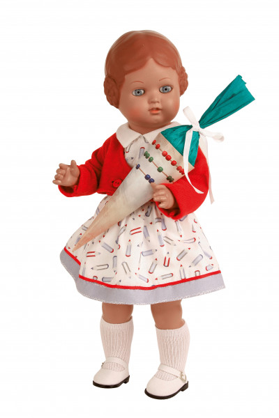 Puppe Bärbel 41 cm braune Malhaare, Schulkleidung
