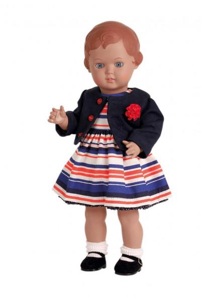 Puppe Erika 41 cm braune Malhaare, Kleidung blau/weis/rot