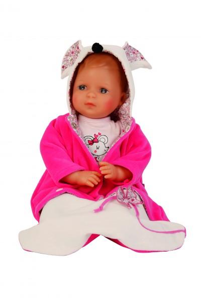Puppe Schlenkerle 37 cm mit Malhaar und braunen Malaugen, Kleidung weiss/pink g