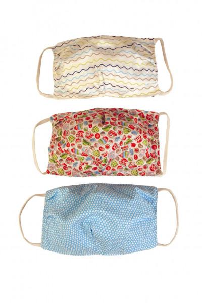 Nasen/Mundbedeckung für Erwachsene aus Baumwolle 3er Pack