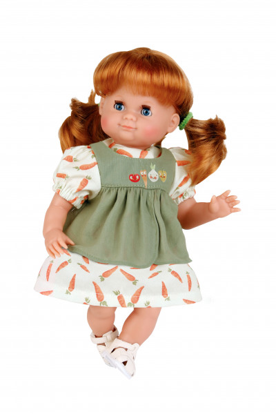 Puppe Schlummerle 32 cm rote Haare, blaue Schlafaugen, Möhrenkleid in oliv/weiss