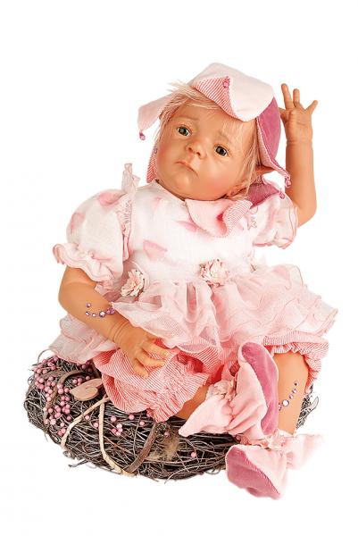 Puppe Elfiene 52 cm von Karola Wegerich blonde Haare, Kleidung rose mit Kranz