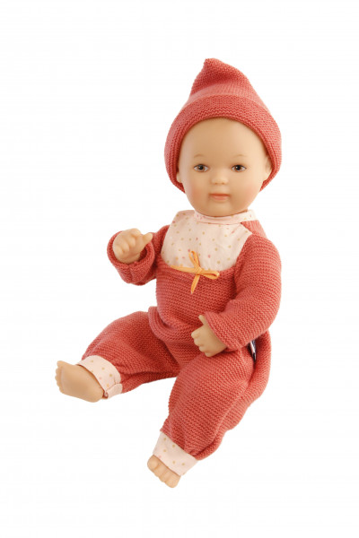 Puppe Mein 1. Baby 28 cm mit Malhaar, braunen Schlafaugen, Strickkleidung rot