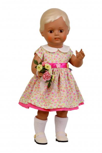 Puppe Christel 41 cm blonde Malhaare, Sommerkleid