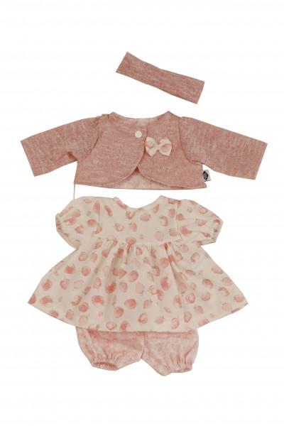 Kleidung zu Baby Amy 45 cm rose/weiss mit Erdbeerdruck
