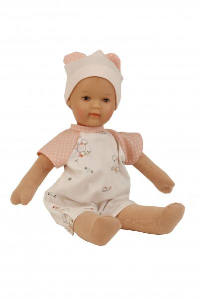 Puppe Schmuserle 30 cm Malhaar, braune Malaugen, Kleidung rose/weiss