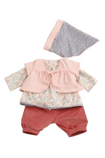 Kleidung zu Puppe 52 cm Julchen/Peterle/Klara/Elli rot/rose/grau