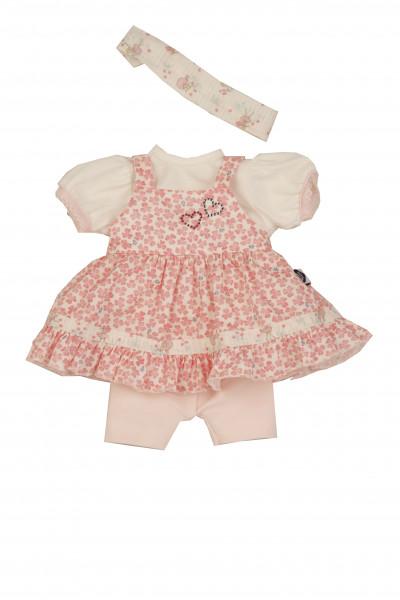 Kleidung zu Puppe Schlummerle 32 cm, Sommerkleidung rose/weiss