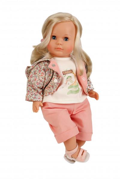 Puppe Hanni 45 cm blonde Haare, blaue Schlafaugen, Kleidung rose/weiss