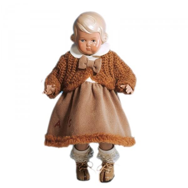 Puppe Inge 18 cm blonde Malhaare, braune Winterkleidung