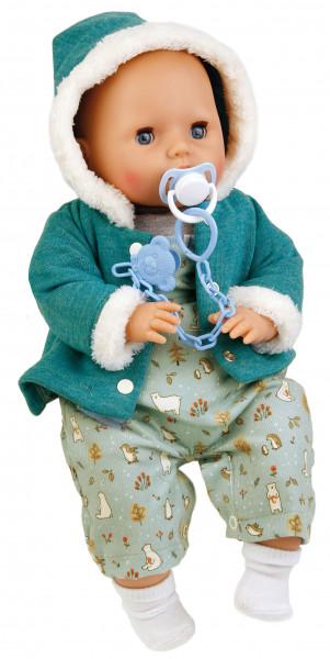 Baby Amy 45 cm mit Schnuller, Malhaar, blaue Schlafaugen, Winterkleidung mint/weiss