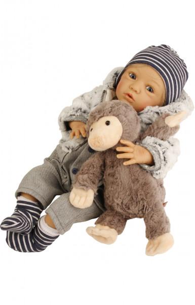 Puppe Gary 50 cm von Gudrun Legler blonde Haare, Kleidung blau/weiss/grau