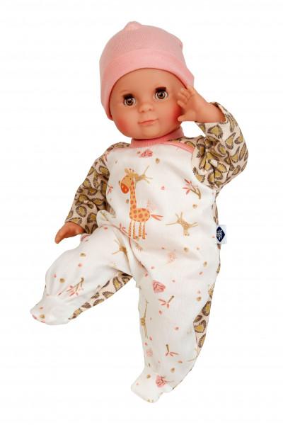 Puppe Schlummerle 32 cm mit Malhaar und braunen Schlafaugen, Overall weiß/braun/rose mit Giraffendru
