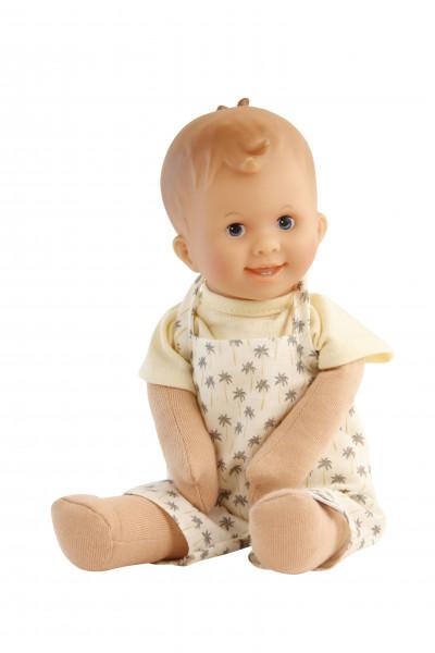 Puppe Löckchen 30 cm Malhaar, blaue Malaugen, Shirt gelb und Latzhose