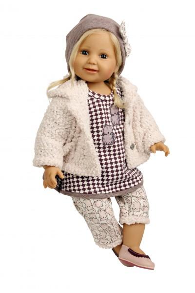 Puppe Lilli sitzend 60 cm von Brigitte Paetsch blonde Haare, Kleidung rose/weiss/braun