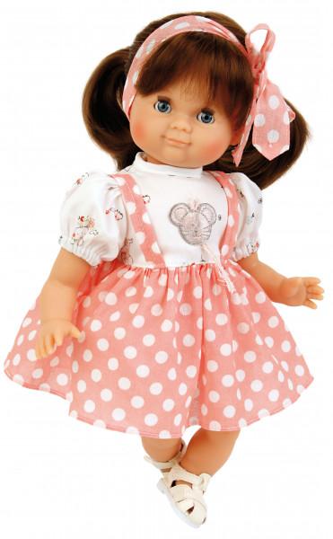 Puppe Schlummerle 32 cm braune Haare, blaue Schlafaugen, Sommerkleidung rose/weiss