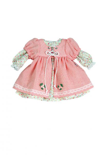 Kleid für Stehpuppe 41 cm Sommerkleid rose/weiss