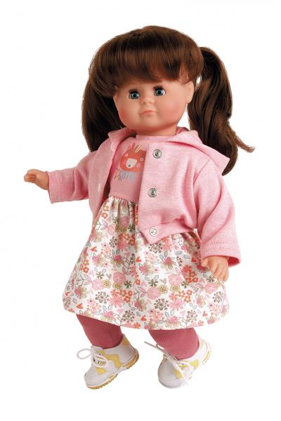 Puppe Schlummerle 37 cm braune Haare, blaue Schlafaugen, Kleidung rose/weiss