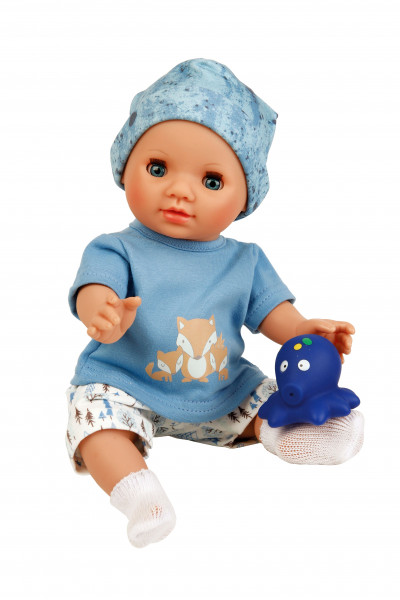 Puppe Sunny 30 cm mit Malhaar und blauen Schlafaugen, Kleidung Mäuschen in weiss/blau