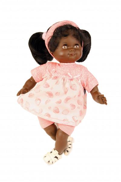 Puppe Schlummerle schwarz 32 cm schwarze Haare, braune Schlafaugen, Sommerkleidung rose/weiss
