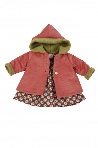 Kleidung zu Stehpuppe 41 cm Winterkleidung braun/rot/grün