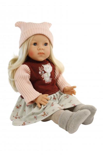 Puppe Elli 52 cm blonde Haare, blaue Schlafaugen, Kleidung winterlich