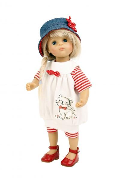 Lisa von Sieglinde Frieske 28 cm, blonde Haare, Kleidung weiss/rot/blau