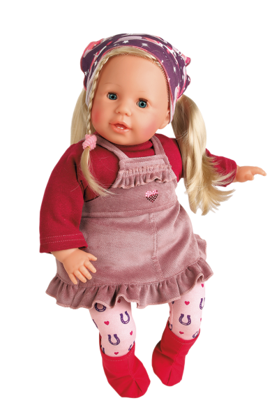 Puppe Susi 45 cm blonde Haare, blaue Schlafaugen, Kleidung im Reiterstil