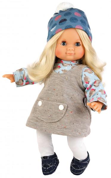 Puppe Schlummerle 32 cm blonde Haare, blaue Schlafaugen, Winterkleidung blau/grau/weiss