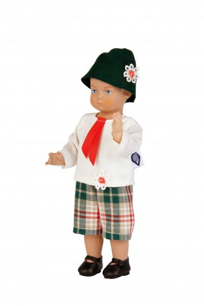 Puppe Hans 18 cm blonde Malhaare, Trchtenkleidung
